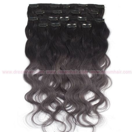Clip-In Hair Extension Ombre 8pcs / 120g / 45cm 1B / Dark Grey