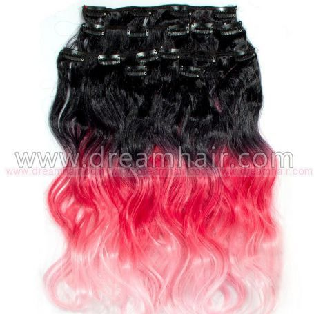 Clip-On Ombre Hiustenpidennys 8-osaa 50cm/160g 1B/Red/Pink#