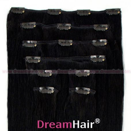 Clip-In Hair Extension 8pcs 40cm 1#