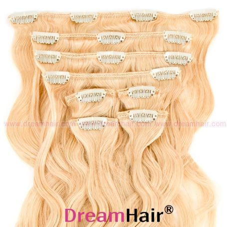 Clip-In Hair Extension 8pcs Wave 60cm Whiteblond#