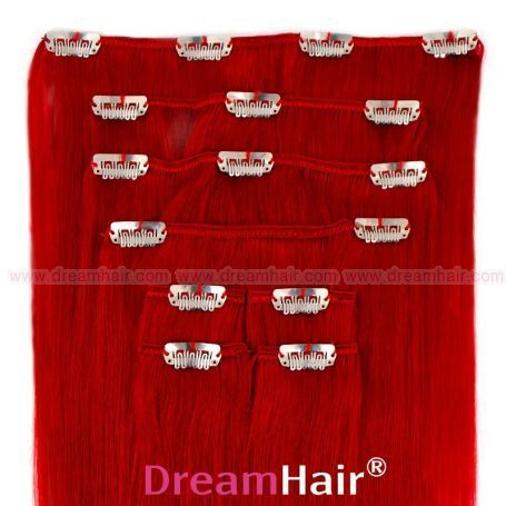 Clip-In Hair Extension 8pcs 50cm RED#