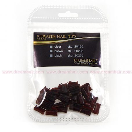 Dream Hair Keratin Nail Tips 50pcs Brown