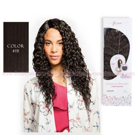 Premium Blended Beach Curl Weave & Closure 1B#