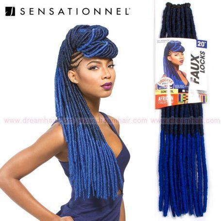 Sensationnel Crochet Braid Faux Locks #1B/Blue