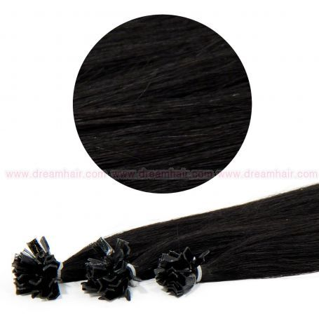 Nail Tip Hair Extension 40cm 25kpl 1#