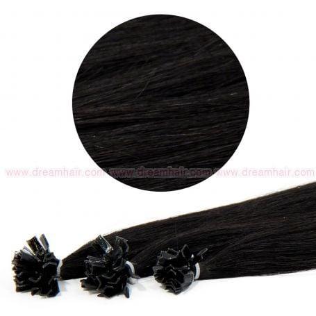 Nail Tip Hair Extension 50cm 25kpl 1#