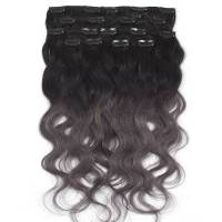 Clip-In Hair Extension Ombre 8pcs / 120g / 45cm 1B / Dark Grey