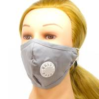 Fabric Face Mask With Ventilator Grey