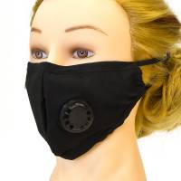 Fabric Face Mask With Ventilator Black