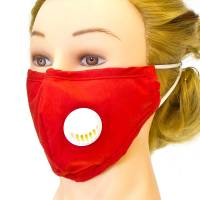 Fabric Face Mask With Ventilator Red