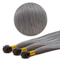 Nail Tip Hair Extension 40cm 25kpl Blue Grey#